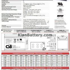 مشخصات باتری 12 آمپر ساعت یو پی اس CSB