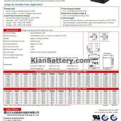 مشخصات باتری 4.5 آمپر ساعت یو پی اس CSB