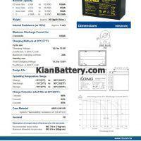 مشخصات باتری 100 آمپر ساعت یو پی اس لانگ