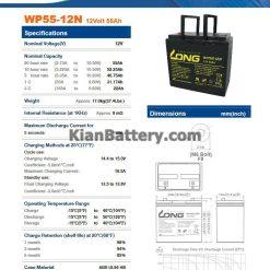 مشخصات باتری 55 آمپر ساعت یو پی اس لانگ