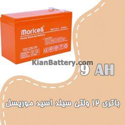 باتری 9 آمپر ساعت یو پی اس موریسل