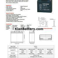 مشخصات باتری 18 آمپر ساعت یو پی اس نارادا