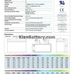مشخصات باتری 7.2 آمپر ساعت یو پی اس ریتار