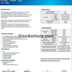 مشخصات باتری 100 آمپر ساعت یو پی اس راکت