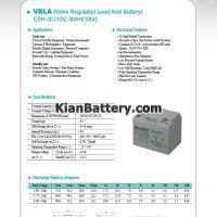 مشخصات باتری 30 آمپر ساعت یو پی اس راکت